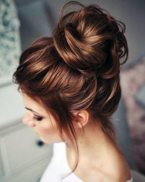 Easy Updo Copper Hightlighted Hairstyle Women