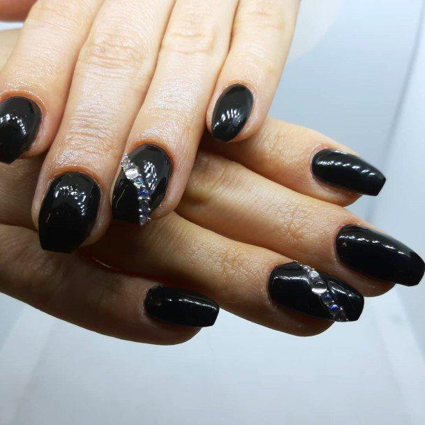 Ebony Black Nails With Rhinestone Curve Art For Women