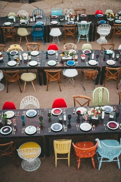 Eclectic Mix And Match Chairs Backyard Wedding Ideas