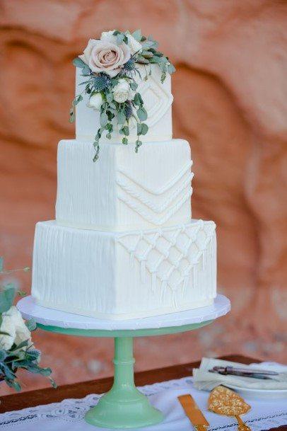 Edgy Boho White Wedding Cake