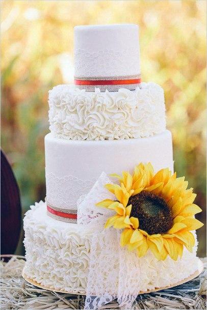 Eelgant White Wedding Cakes Women Sunflowers