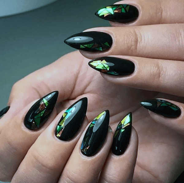 Electric Black Glass Nails For Women