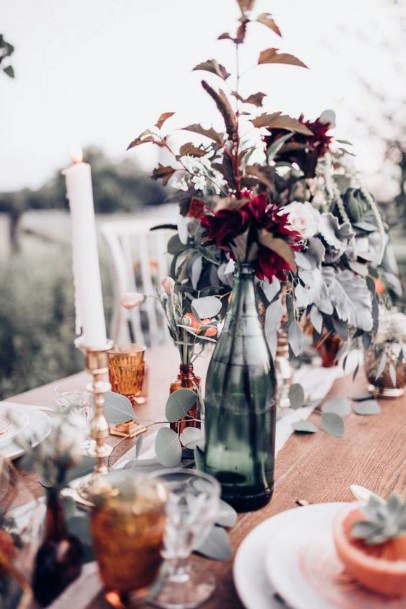 Elegant And Minimal Glass Jar Vases And Candles Centerpieces Fall Wedding Ideas