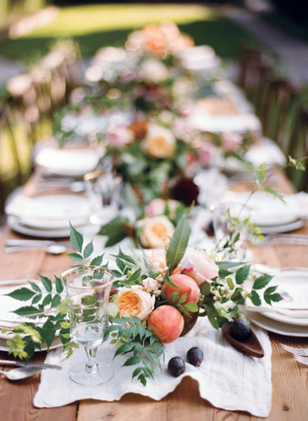 Elegant August Wedding Flowers On Table