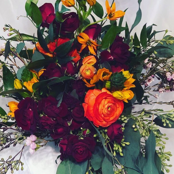 Elegant Dark Burgundy With Pops Of Orange And Green Bouquet Fall Wedding Ideas