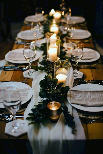 Elegant Greenery And Candlelight Centerpieces Fall Wedding Ideas