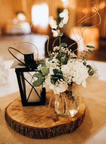 Elegant Mini Black Lantern With White Flowers Wedding Centerpiece Ideas