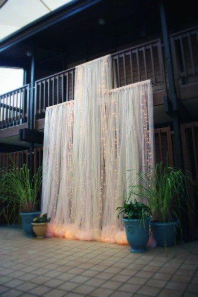 Elegant Porch Drapery Ceremony Backdrop Backyard Wedding Ideas