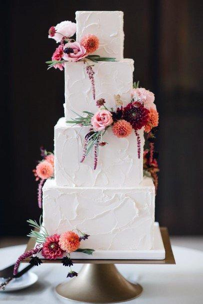 Elegant Square And Round Tiers Design Wedding Cake Ideas