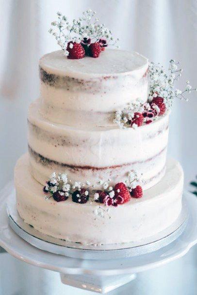 Elegant Wedding Cake For Women Berries Semi Naked