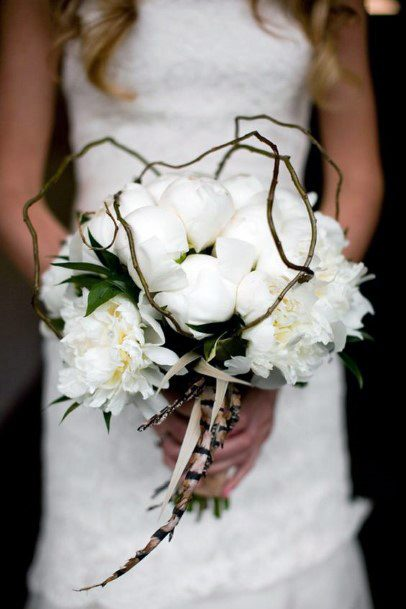 Elegant White Rose Bouquet With Wood And Feather Elements Rustic Wedding Ideas