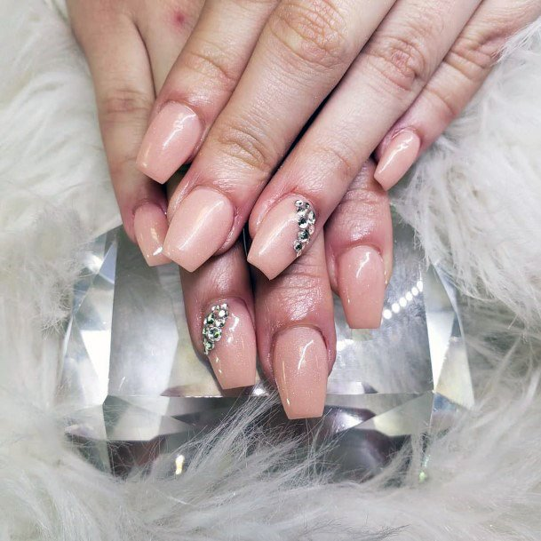 Embellished Nude Nails For Women