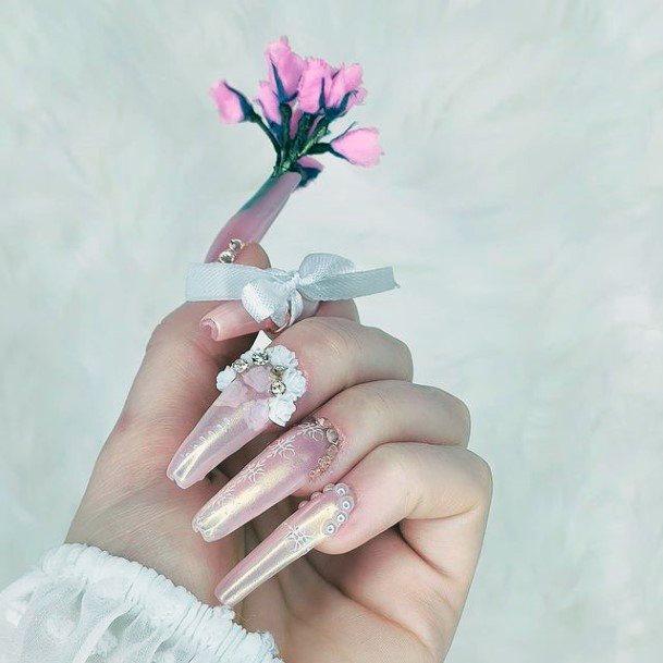 Embellished Romantic Nails Women