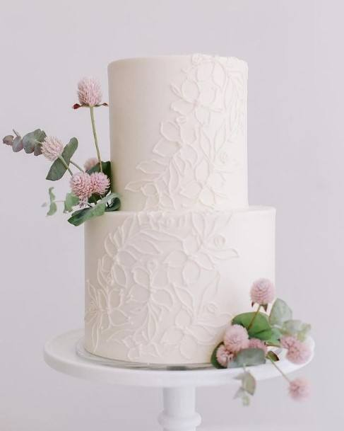 Embossed Carvings On White 2 Tier Cake