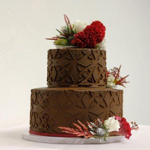 Embossed Design Chocolate Wedding Cake