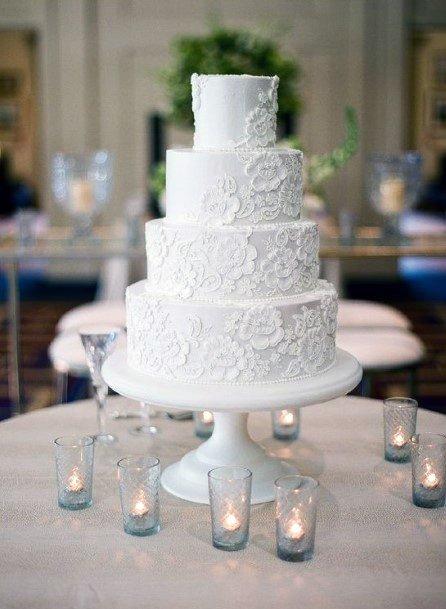 Embossed Flowers Elegant White Wedding Cake Women