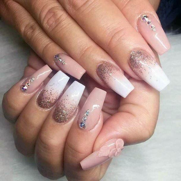 Embossed Pink Flower White Ombre Nails Women