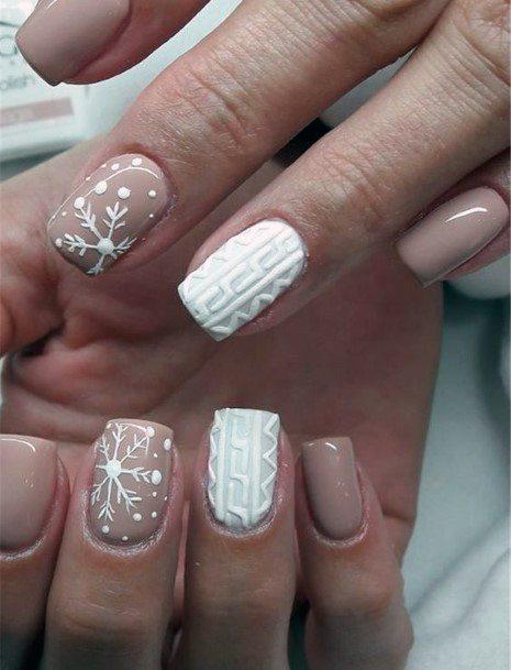 Embossed Snow Art On Nails Women