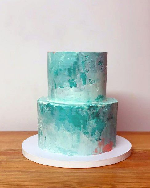 Emerald Blue Beach Wedding Cake Women