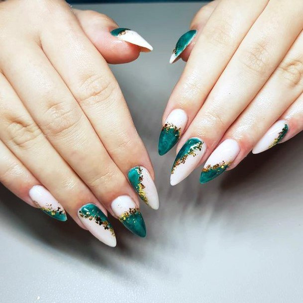 Emerald Green And Gold Design Nails
