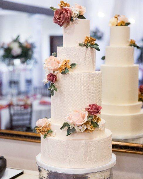 Eminent White Wedding Cake With Roses