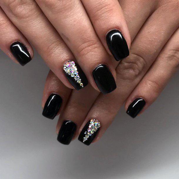 Empress Diamond Art On Black Nails Women