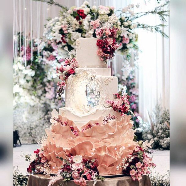 Enchanting Flowers Unique Wedding Cake