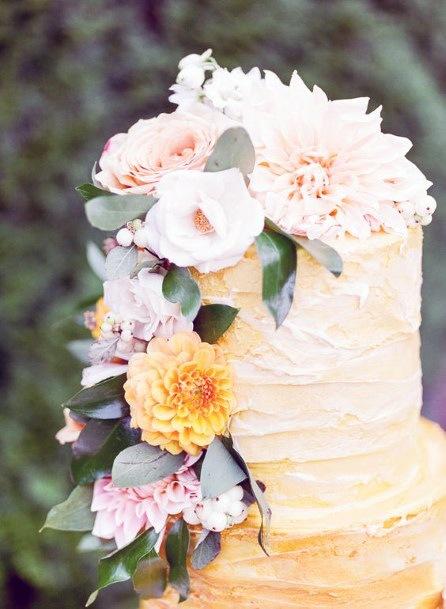 Enchanting Wedding Flowers Yellow Cake