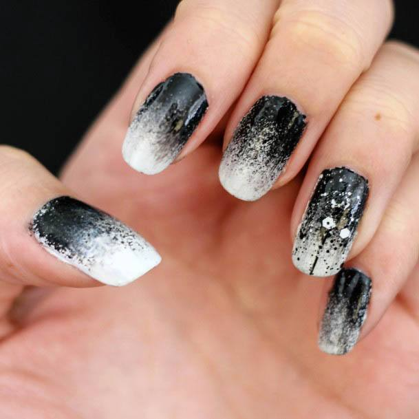 Enchanting White And Dark Ombre Nails For Women