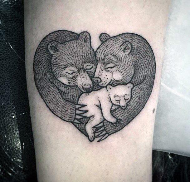 Endearing Bear Family Tattoo For Women