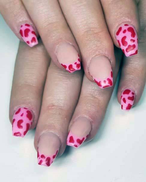 Endearing Red Hearts On Pink Nails For Women