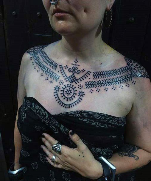 Ethnic Tribal Tattoo Womens Neck