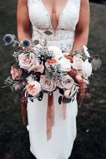 Exotic Blush Roses Flowers Bouquet Wedding