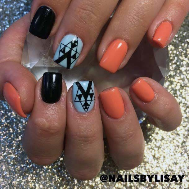 Exotic Dark Art On Blue And Orange Nails For Women