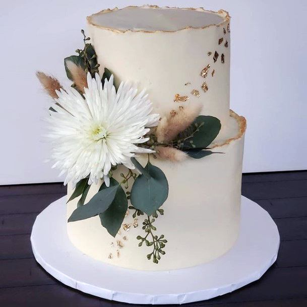 Exotic Floral Art Gold Wedding Cake