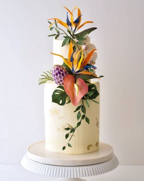Exotic Flowers On 2 Tier Wedding Cake Tropical