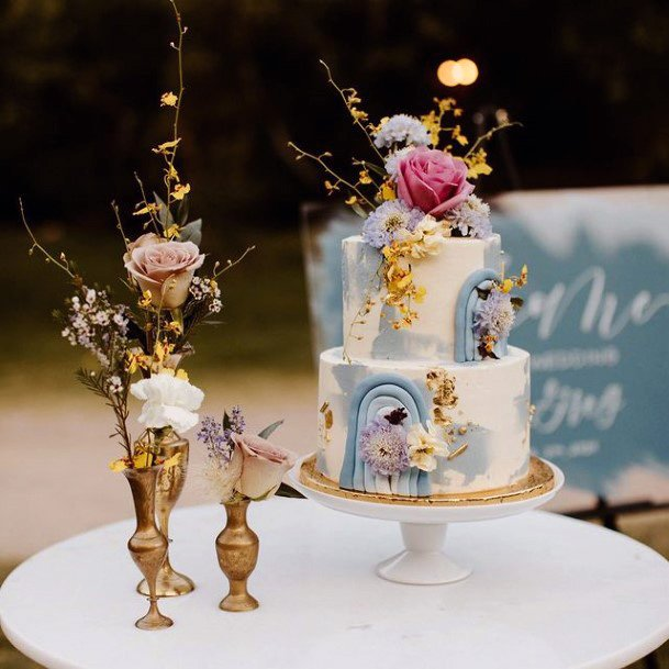 Exotic Flowers On Blue Wedding Cakes