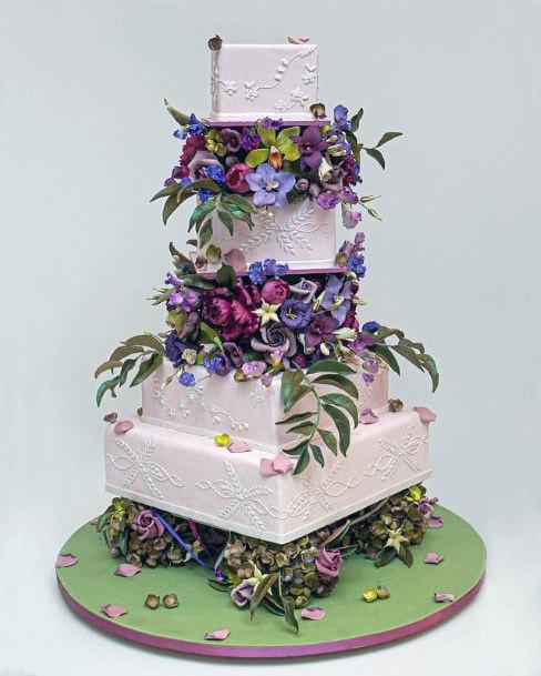 Exotic Square Wedding Cake