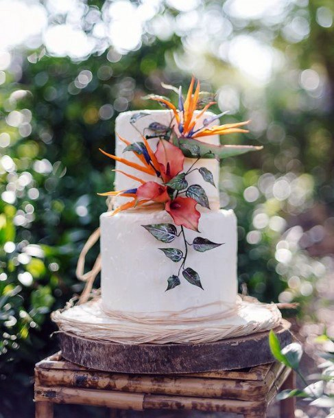 Exotic Tropical Wedding Flowers On Cake