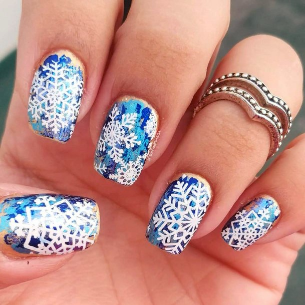 Explosive White And Blue Snow Nails Women