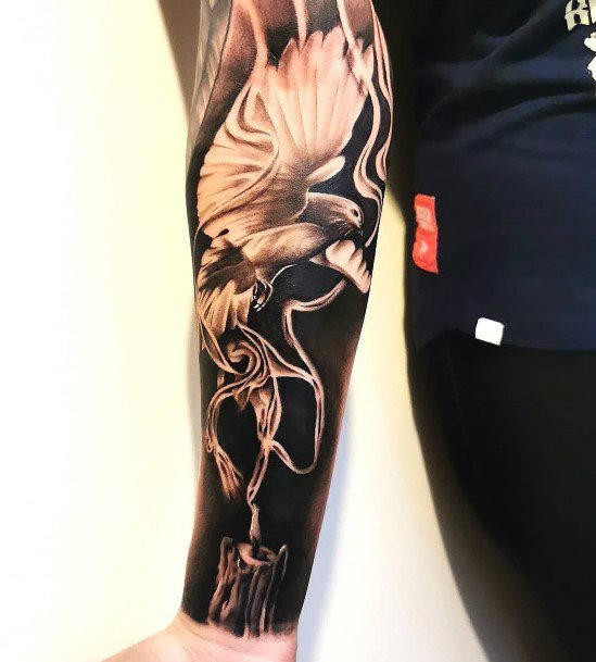 Extreme Dark Dove Tattoo Womens Sleeves