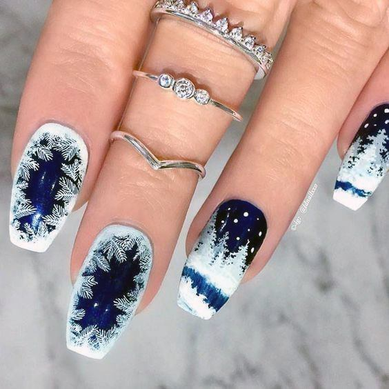Extreme Deep Blue Snow Nails With Fine White Flakes Women