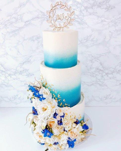 Eye Catching Blue White Wedding Cake