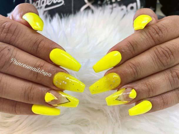 Eye Catchy Bright Yellow Nails For Women