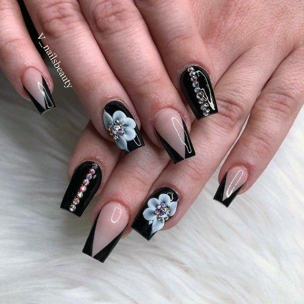 Fab Black 3d Flowers Nails