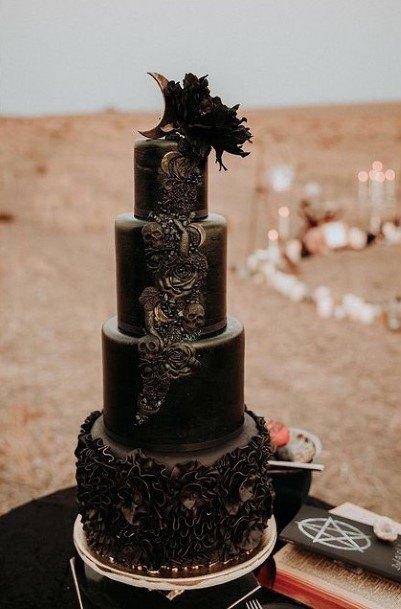 Fab Black Halloween Wedding Cake