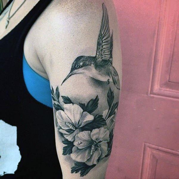 Fabulous Tattoo For Women Hummingbid And Flowers Grey