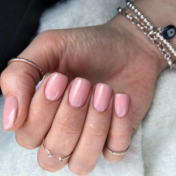 Faded Pink Short Nails Women