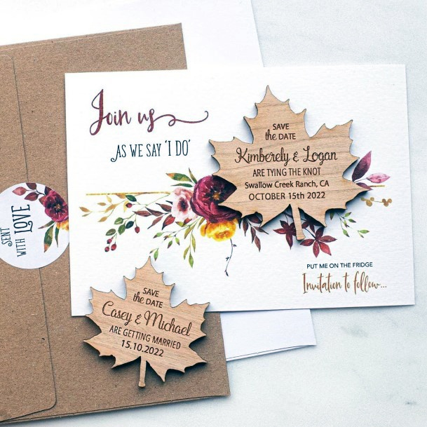 Fall Leaves Wooden Invitation Suite Fall Wedding Ideas