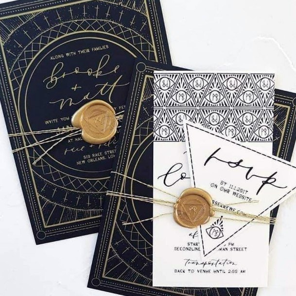 Fall Wedding Ideas Art Deco Black And Gold Invitation Suite